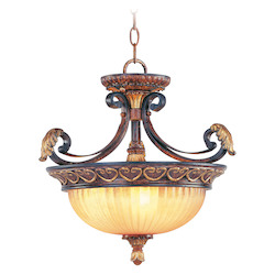 Verona Bronze 3 Light 180W Semi-Flush Ceiling Light with Medium Bulb Base and Rustic Art Glass from Villa Verona Series