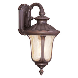 Imperial Bronze 3 Light 180W Down Lighting Wall Sconce With Candelabra Bulb Base And Light Amber Water Glass From Oxford Series