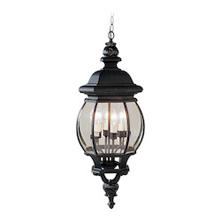 Black 4 Light 240W Outdoor Pendant With Candelabra Bulb Base And Clear Beveled Glass From Frontenac Series