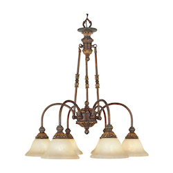 Crackled Greek Bronze 6 Light 360W Chandelier With Medium Bulb Base And Vintage Scavo Glass From Sovereign Series
