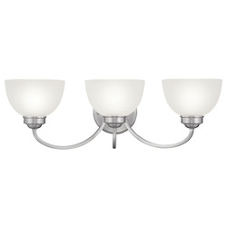 Brushed Nickel 3 Light 300 Watt 24.5in. Wide Bathroom Fixture with Satin Glass from the Somerset Collection