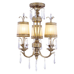 Vintage Gold Leaf 3 Light 180W Semi-Flush Ceiling Light with Candelabra Bulb Base and Hand Crafted Gold Dusted Glass from La Bella Series