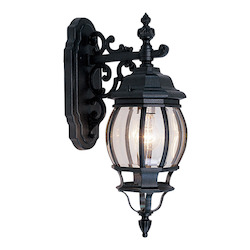 Black 1 Light 100W Down Lighting Wall Sconce with Medium Bulb Base and Clear Beveled Glass from Frontenac Series