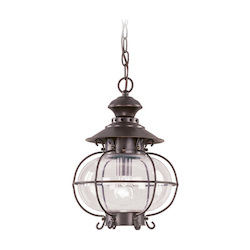 Bronze 1 Light 100W Outdoor Pendant with Medium Bulb Base and Hand Blown Clear Glass from Harbor Series