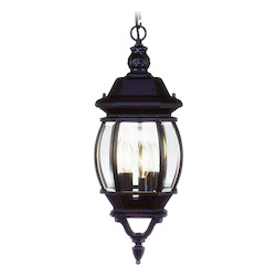 Black 3 Light 180W Outdoor Pendant with Candelabra Bulb Base and Clear Beveled Glass from Frontenac Series