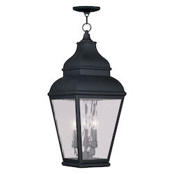 Black Exeter Outdoor Pendant with 3 Lights