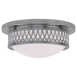 Brushed Nickel Westfield Flush Mount Ceiling Fixture with 2 Lights