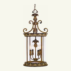 Venetian Patina 4 Light 240W Foyer Pendant With Candelabra Bulb Base And Vintage Carved Scavo Glass From Savannah Series