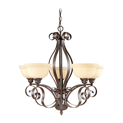 Imperial Bronze 5 Light 500W Chandelier With Medium Bulb Base And Vintage Scavo Glass From Manchester Series