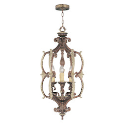 Palacial Bronze With Gilded Accents 6 Light 360W Foyer Pendant With Candelabra Bulb Base From Seville Series