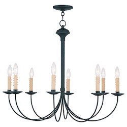Black Heritage Up Lighting 1 Tier Chandelier With 8 Lights