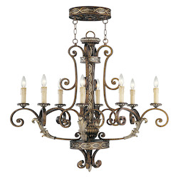 Palacial Bronze With Gilded Accents 8 Light 480W Oval Chandelier With Candelabra Bulb Base From Seville Series