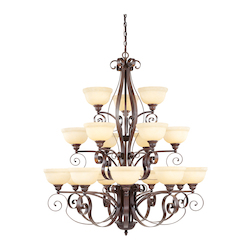 Imperial Bronze 18 Light 720W Chandelier With Medium Bulb Base And Vintage Scavo Glass From Manchester Series