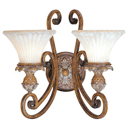 Venetian Patina 2 Light 200W Wallchiere Wall Sconce with Medium Bulb Base and Vintage Carved Scavo Glass from Savannah Series