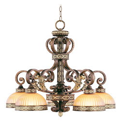 Palacial Bronze With Gilded Accents 5 Light 300W Chandelier With Medium Bulb Base And Hand Crafted Gold Dusted Art Glass From Seville Series