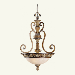 Venetian Patina 3 Light 180W Pendant With Medium Bulb Base And Vintage Carved Scavo Glass From Savannah Series