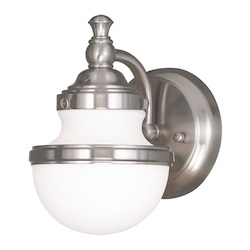 Brushed Nickel Oldwick 1 Light Bathroom Sconce