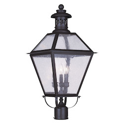 Bronze 3 Light 180 Watt 12.5in. Wide Outdoor Post Light with Seeded Glass from the Waldwick Collection