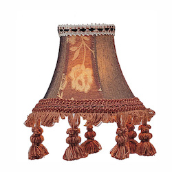 Burgundy Floral Bell Clip Shade with Tassels Chandelier Shade with Burgundy Floral Bell Clip Shade with Tassels from Chandelier Shade Series