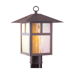 Bronze 1 Light 150W Post Light with Medium Bulb Base and Iridescent Tiffany Glass from Montclair Mission Series