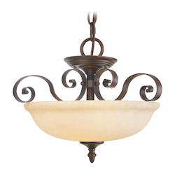 Imperial Bronze 3 Light 300W Semi-Flush Ceiling Light With Medium Bulb Base And Vintage Scavo Glass From Manchester Series