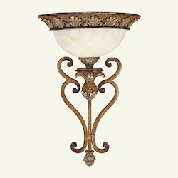 Venetian Patina 1 Light 100W Wallchiere Wall Sconce with Medium Bulb Base and Vintage Carved Scavo Glass from Savannah Series