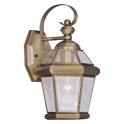 Antique Brass 1 Light 60W Outdoor Wall Sconce with Medium Bulb Base and Clear Flat Glass from Georgetown Series