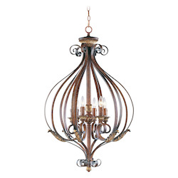 Verona Bronze 6 Light 360W Foyer Pendant With Candelabra Bulb Base From Villa Verona Series