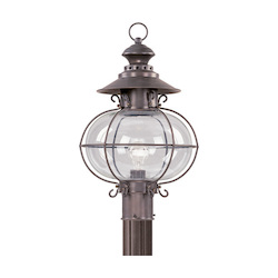 Bronze 1 Light 150W Post Light with Medium Bulb Base and Hand Blown Clear Glass from Harbor Series