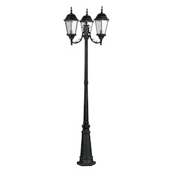 Black 3 Light 300 Watt Outdoor Post Light With Clear Beveled Glass From The Hamilton Collection