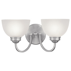 Brushed Nickel 2 Light 200 Watt 16in. Wide Bathroom Fixture with Satin Glass from the Somerset Collection