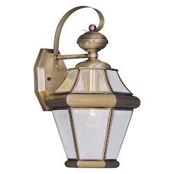 Antique Brass 1 Light 100W Outdoor Wall Sconce with Medium Bulb Base and Clear Beveled Glass from Georgetown Series