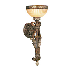 Palacial Bronze with Gilded Accents 1 Light 60W Wallchiere Wall Sconce with Medium Bulb Base and Hand Crafted Gold Dusted Art Glass from Seville Series