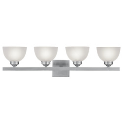 Brushed Nickel 4 Light 400 Watt 33.75in. Wide Bathroom Fixture with Satin Glass from the Somerset Collection