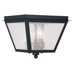 Black Amwell Outdoor Flush Mount Ceiling Fixture with 3 Lights
