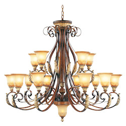 Verona Bronze 15 Light 600W Chandelier With Medium Bulb Base And Rustic Art Glass From Villa Verona Series