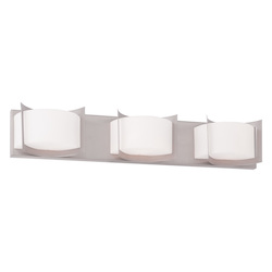 Brushed Nickel Wave 3 Light Bathroom Vanity Light