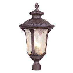 Imperial Bronze 3 Light 180W Post Light With Candelabra Bulb Base And Light Amber Water Glass From Oxford Series