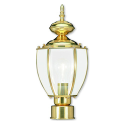 Polished Brass 1 Light 60W Post Light with Medium Bulb Base and Clear Beveled Glass from Outdoor Basics Series
