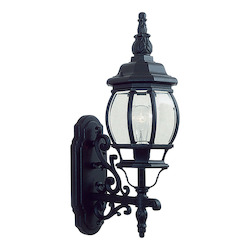 Black 1 Light 100W Up Lighting Wall Sconce with Medium Bulb Base and Clear Beveled Glass from Frontenac Series