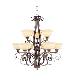 Imperial Bronze 9 Light 900W Chandelier With Medium Bulb Base And Vintage Scavo Glass From Manchester Series