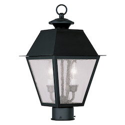Black Mansfield Post Light with 2 Lights