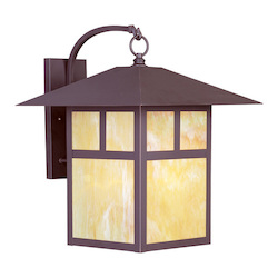 Bronze 1 Light 150W Outdoor Wall Sconce With Medium Bulb Base And Iridescent Tiffany Glass From Montclair Mission Series