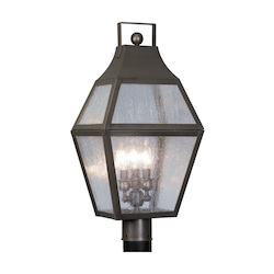 Bronze 3 Light 180W Post Light with Candelabra Bulb Base and Clear Seeded Glass from Augusta Series