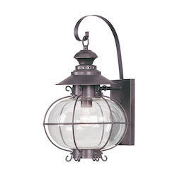 Bronze 1 Light 150W Outdoor Wall Sconce with Medium Bulb Base and Hand Blown Clear Glass from Harbor Series