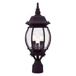 Black 3 Light 180W Post Light with Candelabra Bulb Base and Clear Beveled Glass from Frontenac Series