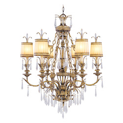 Vintage Gold Leaf 6 Light 360W Chandelier With Candelabra Bulb Base And Hand Crafted Gold Dusted Glass From La Bella Series