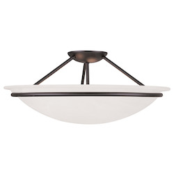 Black Newburgh 8 Inch Tall Semi-Flush Ceiling Fixture with 3 Lights