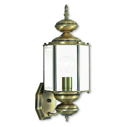Antique Brass 1 Light 100W Outdoor Wall Sconce with Medium Bulb Base and Clear Beveled Glass from Outdoor Basics Series