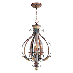 Verona Bronze 4 Light 240W Foyer Pendant with Candelabra Bulb Base from Villa Verona Series